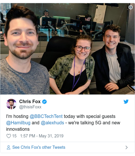 Twitter post by @thisisFoxx: I'm hosting @BBCTechTent today with special guests @Hamilbug and @alexhuds - we're talking 5G and new innovations