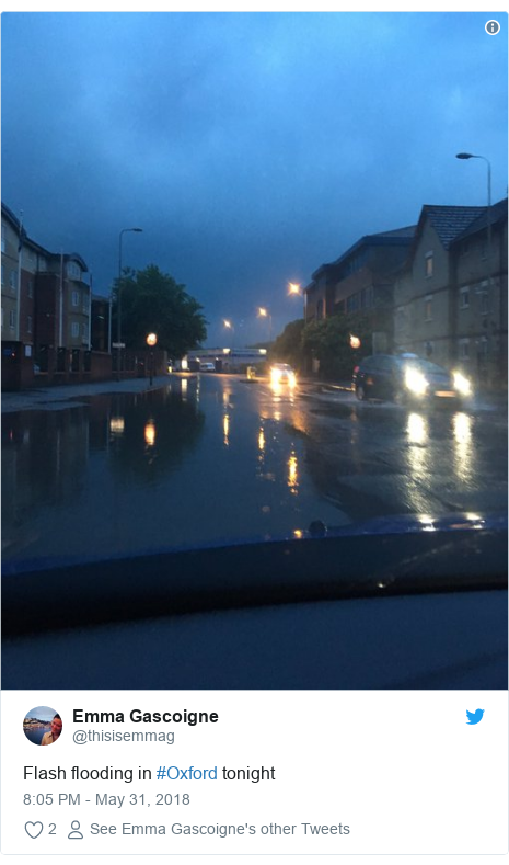 Twitter post by @thisisemmag: Flash flooding in #Oxford tonight