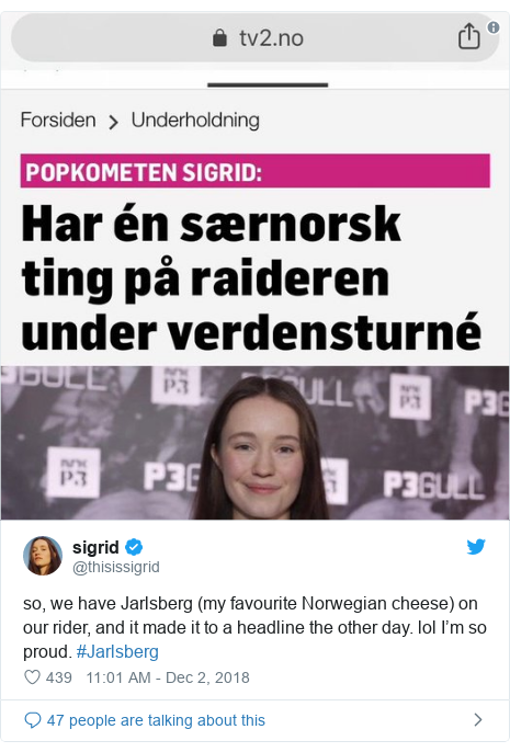 Twitter post by @thisissigrid: so, we have Jarlsberg (my favourite Norwegian cheese) on our rider, and it made it to a headline the other day. lol I'm so proud. #Jarlsberg