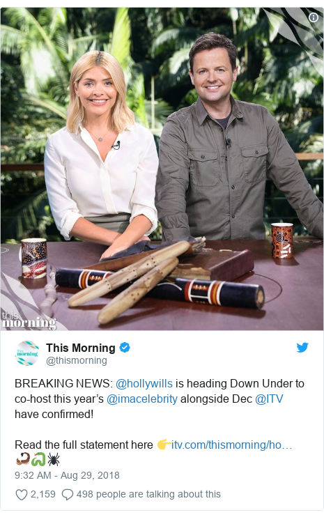Twitter post by @thismorning: BREAKING NEWS  @hollywills is heading Down Under to co-host this year's @imacelebrity alongside Dec @ITV have confirmed!Read the full statement here 👉 🦂🐍🕷