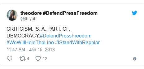 Twitter post by @thiyuh: CRITICISM. IS. A. PART. OF. DEMOCRACY.#DefendPressFreedom #WeWillHoldTheLine #IStandWithRappler