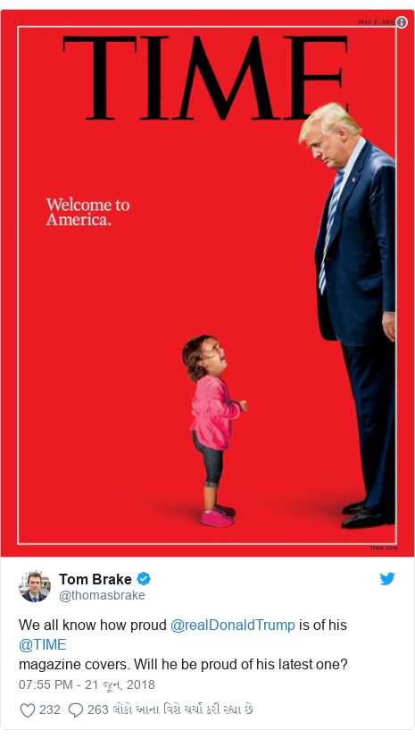 Twitter post by @thomasbrake: We all know how proud @realDonaldTrump is of his @TIMEmagazine covers. Will he be proud of his latest one?
