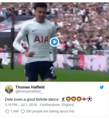 Twitter post by @thomashatfield_: Dele loves a good fortnite dance. 🕺🏼🦁🦁🦁🏴󠁧󠁢󠁥󠁮󠁧󠁿⚽️