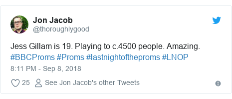 Twitter post by @thoroughlygood: Jess Gillam is 19. Playing to c.4500 people. Amazing. #BBCProms #Proms #lastnightoftheproms #LNOP