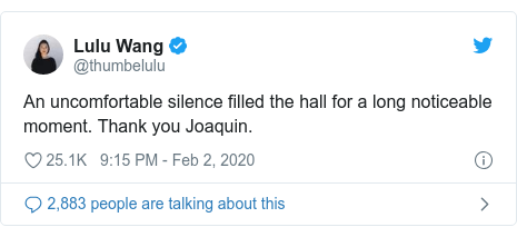 Twitter post by @thumbelulu: An uncomfortable silence filled the hall for a long noticeable moment. Thank you Joaquin.