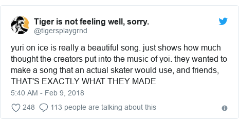 Twitter post by @tigersplaygrnd: yuri on ice is really a beautiful song. just shows how much thought the creators put into the music of yoi. they wanted to make a song that an actual skater would use, and friends, THAT'S EXACTLY WHAT THEY MADE