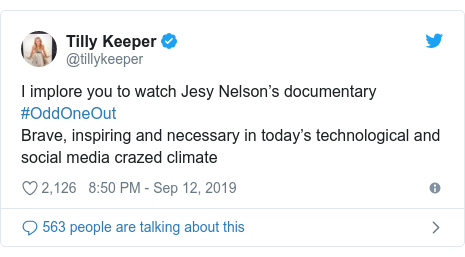 Twitter post by @tillykeeper: I implore you to watch Jesy Nelson's documentary #OddOneOutBrave, inspiring and necessary in today's technological and social media crazed climate