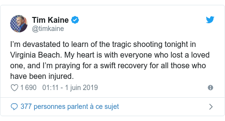 Twitter post by @timkaine: I'm devastated to learn of the tragic shooting tonight in Virginia Beach. My heart is with everyone who lost a loved one, and I'm praying for a swift recovery for all those who have been injured.