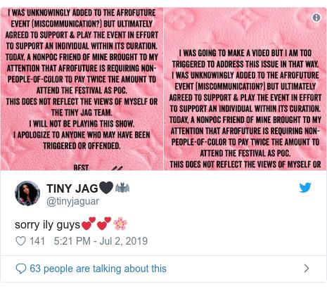 Twitter post by @tinyjaguar: sorry ily guys💕💕🌸