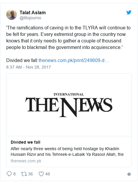 Twitter post by @titojourno: 'The ramifications of caving in to the TLYRA will continue to be felt for years. Every extremist group in the country now knows that it only needs to gather a couple of thousand people to blackmail the government into acquiescence.'   Divided we fall