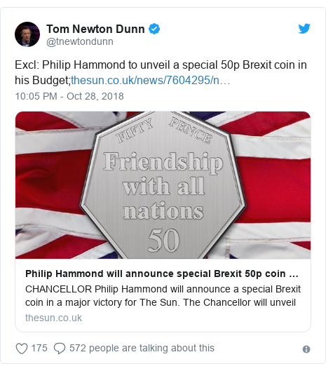 Twitter post by @tnewtondunn: Excl  Philip Hammond to unveil a special 50p Brexit coin in his Budget;