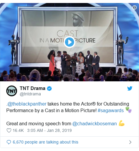 Twitter post by @tntdrama: .@theblackpanther takes home the Actor® for Outstanding Performance by a Cast in a Motion Picture! #sagawards 🎭Great and moving speech from @chadwickboseman 💪