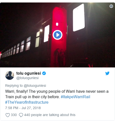 Twitter post by @toluogunlesi: Warri, finally! The young people of Warri have never seen a Train pull up in their city before. #ItakpeWarriRail #TheYearofInfrastructure