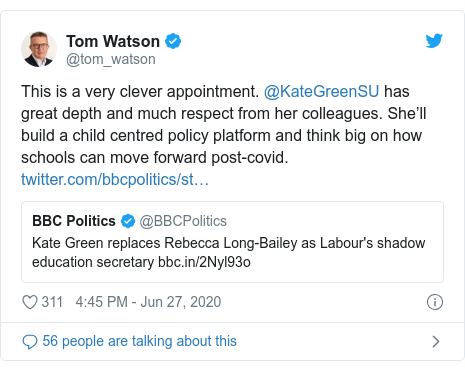 Twitter post by @tom_watson: This is a very clever appointment. @KateGreenSU has great depth and much respect from her colleagues. She'll build a child centred policy platform and think big on how schools can move forward post-covid.
