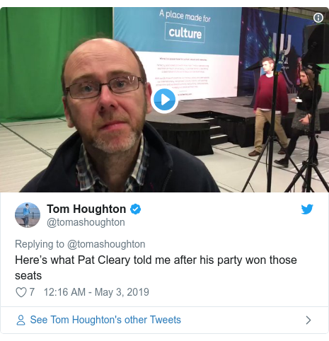 Twitter post by @tomashoughton: Here's what Pat Cleary told me after his party won those seats