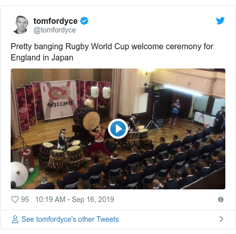 Twitter post by @tomfordyce: Pretty banging Rugby World Cup welcome ceremony for England in Japan