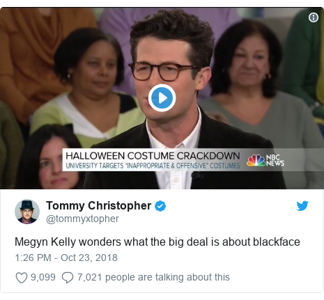 Twitter post by @tommyxtopher: Megyn Kelly wonders what the big deal is about blackface
