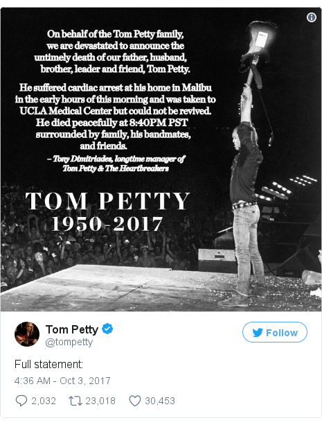 Twitter post by @tompetty: Full statement  pic.twitter.com/FGCVI5yIaa