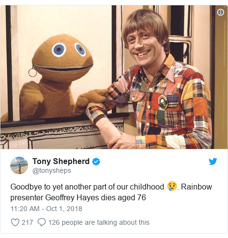 Twitter post by @tonysheps: Goodbye to yet another part of our childhood 😢. Rainbow presenter Geoffrey Hayes dies aged 76