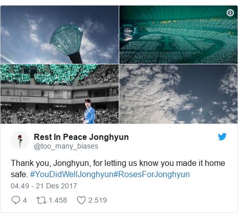 Twitter pesan oleh @too_many_biases: Thank you, Jonghyun, for letting us know you made it home safe. #YouDidWellJonghyun#RosesForJonghyun
