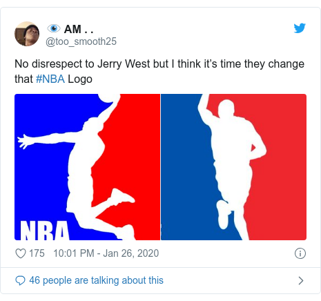 Twitter post by @too_smooth25: No disrespect to Jerry West but I think it's time they change that #NBA Logo