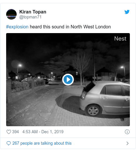 Twitter post by @topman71: #explosion heard this sound in North West London