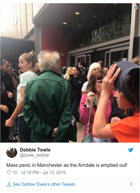Twitter post by @towle_debbie: Mass panic in Manchester as the Arndale is emptied out!