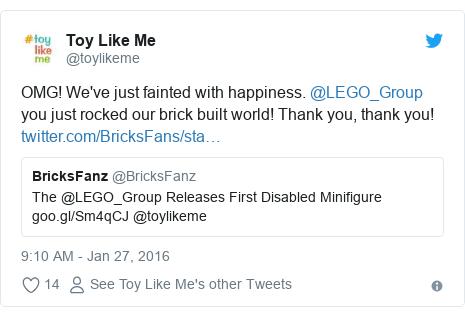 Twitter post by @toylikeme: OMG! We've just fainted with happiness. @LEGO_Group you just rocked our brick built world! Thank you, thank you!