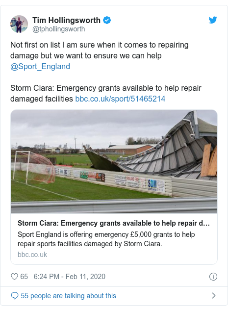 Twitter post by @tphollingsworth: Not first on list I am sure when it comes to repairing damage but we want to ensure we can help @Sport_EnglandStorm Ciara  Emergency grants available to help repair damaged facilities