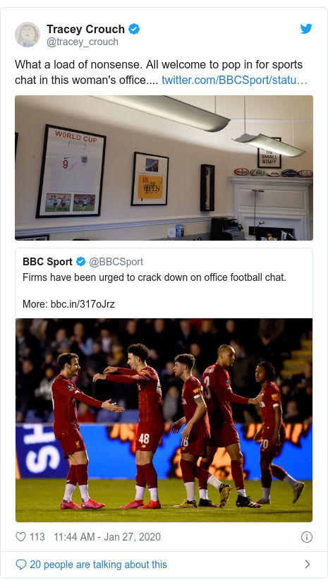 Twitter post by @tracey_crouch: What a load of nonsense. All welcome to pop in for sports chat in this woman's office....