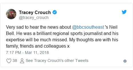 Twitter post by @tracey_crouch: Very sad to hear the news about @bbcsoutheast 's Neil Bell. He was a brilliant regional sports journalist and his expertise will be much missed. My thoughts are with his family, friends and colleagues x