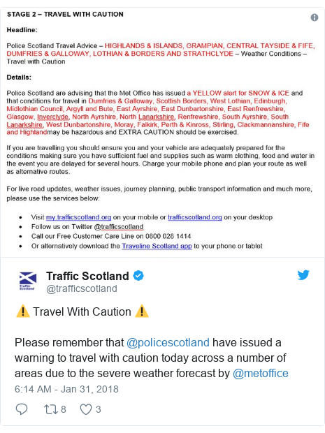 Twitter post by @trafficscotland: ⚠️ Travel With Caution ⚠️Please remember that @policescotland have issued a warning to travel with caution today across a number of areas due to the severe weather forecast by @metoffice