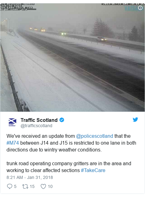 Twitter post by @trafficscotland: We've received an update from @policescotland that the #M74 between J14 and J15 is restricted to one lane in both directions due to wintry weather conditions.trunk road operating company gritters are in the area and working to clear affected sections #TakeCare