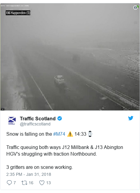 Twitter post by @trafficscotland: Snow is falling on the #M74 ⚠️ 14 33⌚Traffic queuing both ways J12 Millbank & J13 AbingtonHGV's struggling with traction Northbound.3 gritters are on scene working.