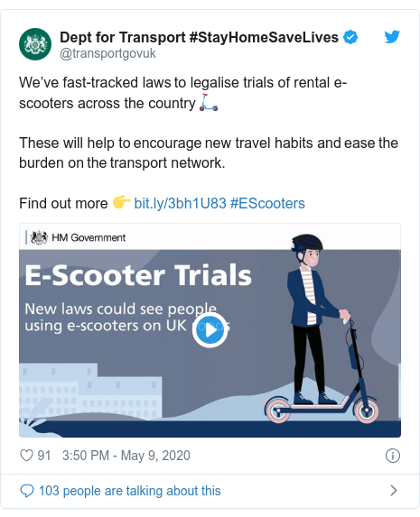 Twitter post by @transportgovuk: We've fast-tracked laws to legalise trials of rental e-scooters across the country 🛴  These will help to encourage new travel habits and ease the burden on the transport network.   Find out more 👉  #EScooters