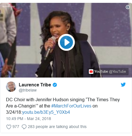 """Twitter post by @tribelaw: DC Choir with Jennifer Hudson singing """"The Times They Are a-Changin'"""" at the #MarchForOurLives on 3/24/18"""