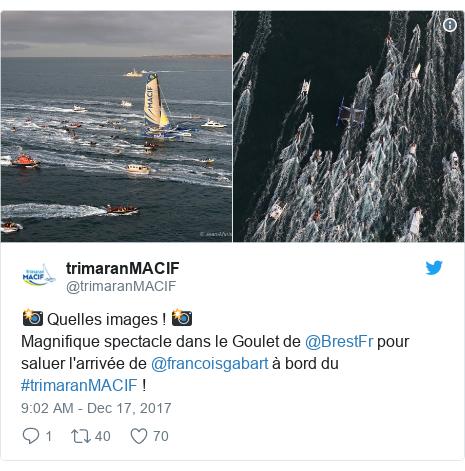 Twitter post by @trimaranMACIF: 📸 Quelles images ! 📸Magnifique spectacle dans le Goulet de @BrestFr pour saluer l'arrivée de @francoisgabart à bord du #trimaranMACIF !