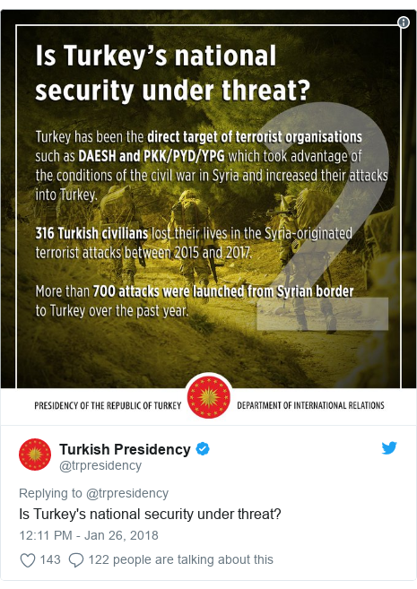 Twitter post by @trpresidency: Is Turkey's national security under threat?