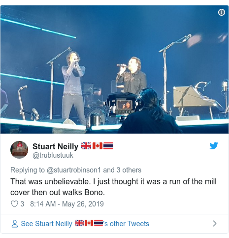 Twitter post by @trublustuuk: That was unbelievable. I just thought it was a run of the mill cover then out walks Bono.