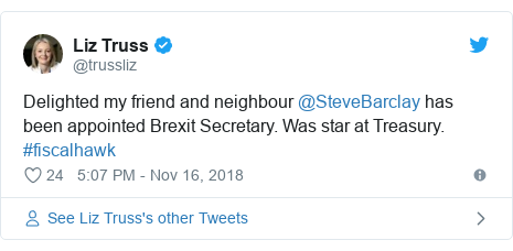 Twitter post by @trussliz: Delighted my friend and neighbour @SteveBarclay has been appointed Brexit Secretary. Was star at Treasury. #fiscalhawk