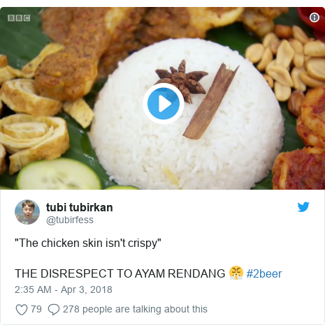 """Twitter post by @tubirfess: """"The chicken skin isn't crispy""""THE DISRESPECT TO AYAM RENDANG 😤 #2beer"""