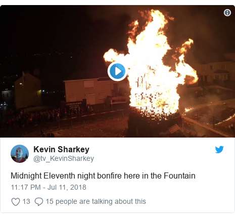 Twitter post by @tv_KevinSharkey: Midnight Eleventh night bonfire here in the Fountain