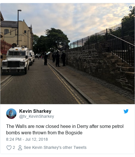 Twitter post by @tv_KevinSharkey: The Walls are now closed heee in Derry after some petrol bombs were thrown from the Bogside