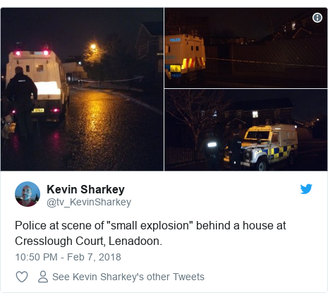 """Twitter post by @tv_KevinSharkey: Police at scene of """"small explosion"""" behind a house at Cresslough Court, Lenadoon."""