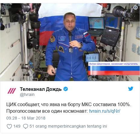 Twitter pesan oleh @tvrain: ЦИК сообщает, что явка на борту МКС составила 100%. Проголосовали все один космонавт