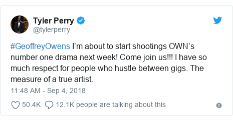 Twitter post by @tylerperry: #GeoffreyOwens I'm about to start shootings OWN's number one drama next week! Come join us!!! I have so much respect for people who hustle between gigs. The measure of a true artist.