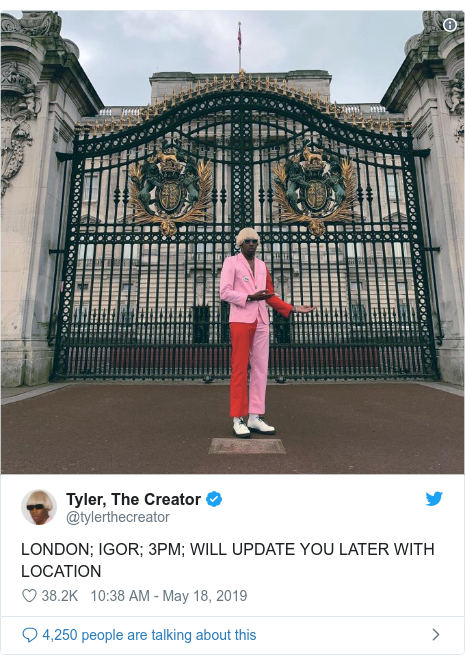 Twitter post by @tylerthecreator: LONDON; IGOR; 3PM; WILL UPDATE YOU LATER WITH LOCATION