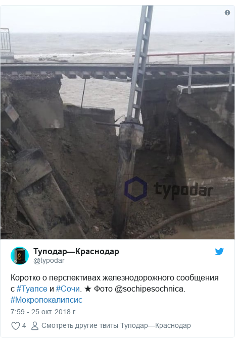 Twitter пост, автор: @typodar: Коротко о перспективах железнодорожного сообщения с #Туапсе и #Сочи. ★ Фото @sochipesochnica. #Мокропокалипсис