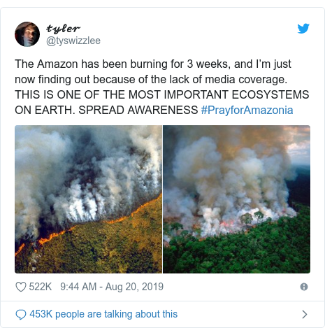 Twitter post by @tyswizzlee: The Amazon has been burning for 3 weeks, and I'm just now finding out because of the lack of media coverage. THIS IS ONE OF THE MOST IMPORTANT ECOSYSTEMS ON EARTH. SPREAD AWARENESS #PrayforAmazonia
