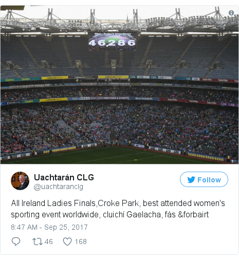 Twitter post by @uachtaranclg: All Ireland Ladies Finals,Croke Park, best attended women's sporting event worldwide, cluichí Gaelacha, fás &forbairt pic.twitter.com/hthIwC5wdx